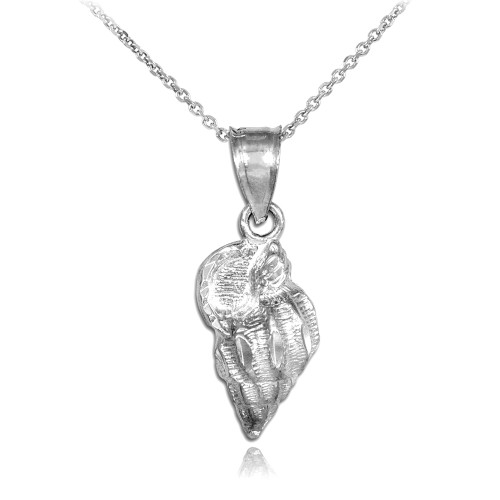 White Gold Conch Shell Charm Pendant Necklace