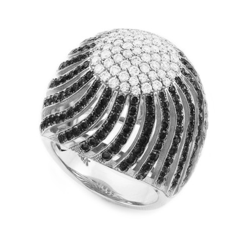 18K White Gold Diamond Pave Cocktail Dome Ring