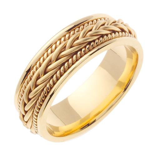 14K Yellow Gold Hand Braided Wedding Band