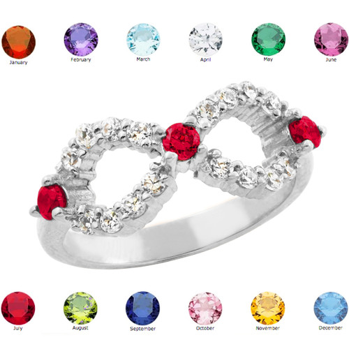 White Gold Infinity Birthstone CZ Ring