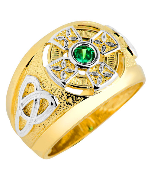 Two-Tone Gold Celtic Green Emerald CZ Mens Ring
