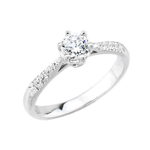 14k White Gold Diamond Engagement Ring
