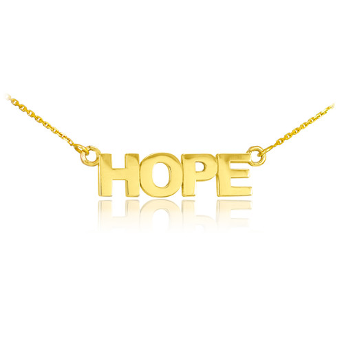 "14k Solid Gold ""HOPE"" Script Necklace"