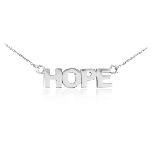"14k Solid White Gold ""HOPE"" Script Necklace"