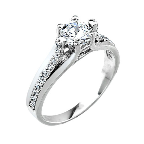 10k White Gold Engagement Wedding Ring