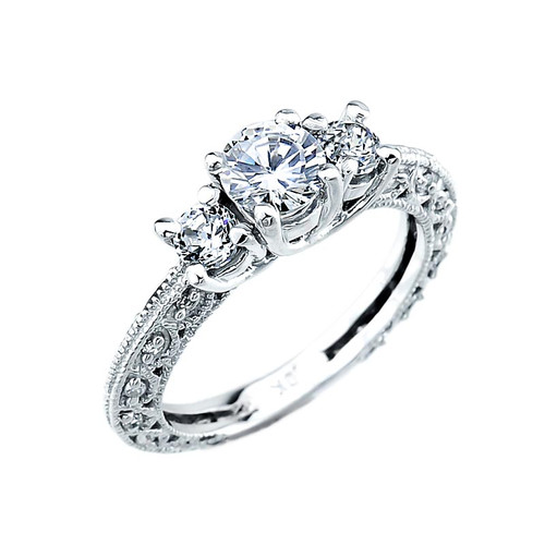 10k White Gold Art Deco 3 Stone Cubic Zirconia Engagement Ring