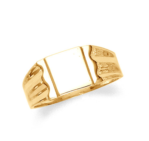 Men's signet ring in 10k or 14k yellow gold.