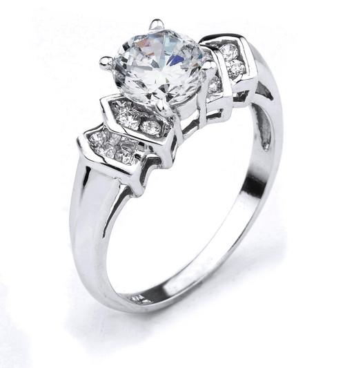 14k Gold Round C.Z. Engagement Ring