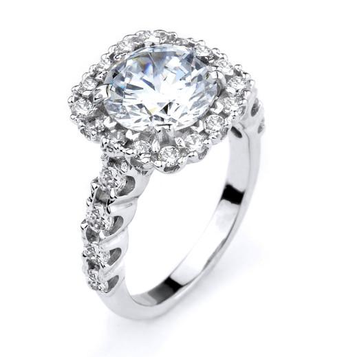 14k White Gold CZ Engagement Halo Ring