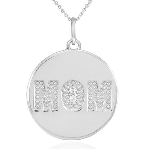 "14K White Gold ""MOM"" Script Diamond Disc Pendant Necklace"