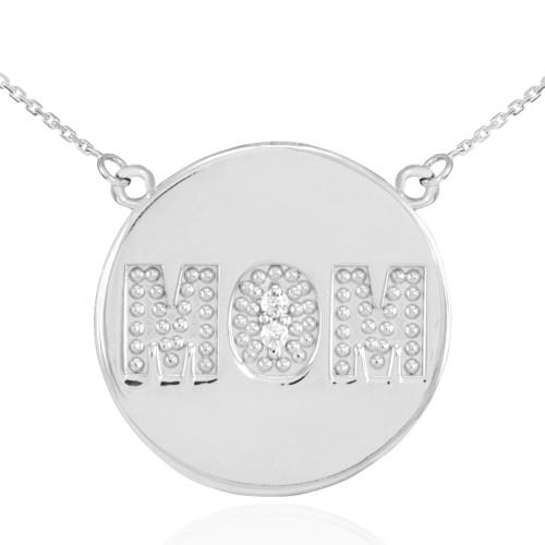 "14K White Gold ""MOM"" Script Diamond Disc Necklace"