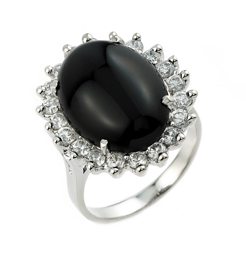 10k White Gold Ladies Black Onyx Ring