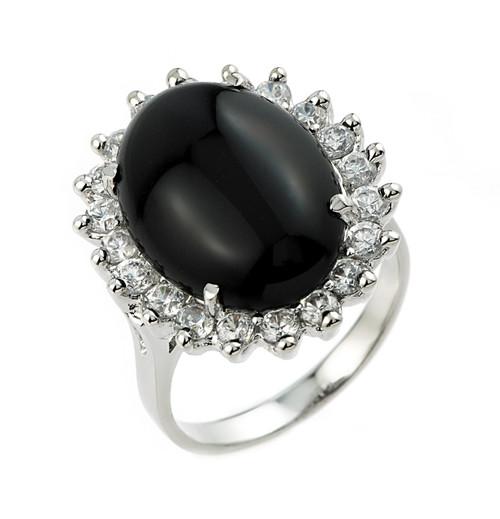 10k White Gold Ladies Black Onyx Ring