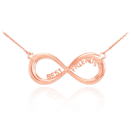 "14K Solid Rose Gold ""BEST FRIENDS"" Infinity Necklace"