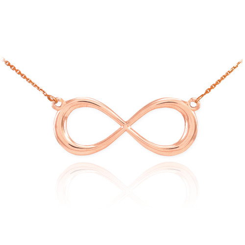 14K Rose Gold Infinity Dainty Necklace