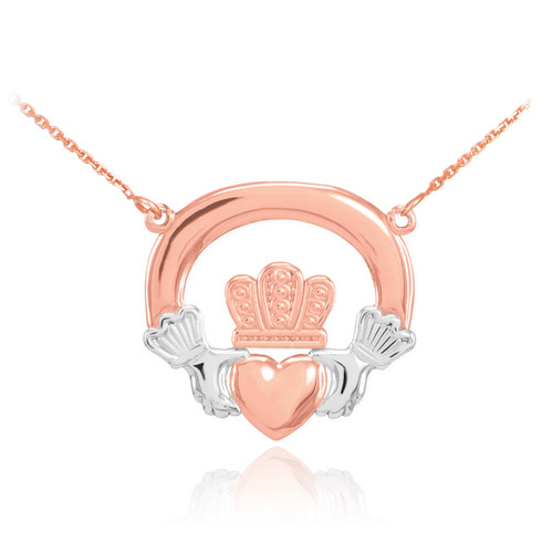 14K Two-Tone Rose Gold Classic Claddagh Necklace