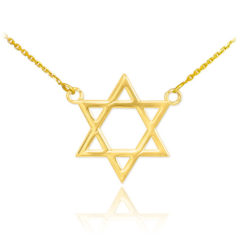14K Gold Star of David Necklace