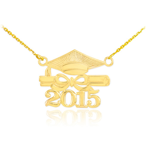 "14K Gold ""CLASS OF 2015"" Graduation Pendant Necklace"