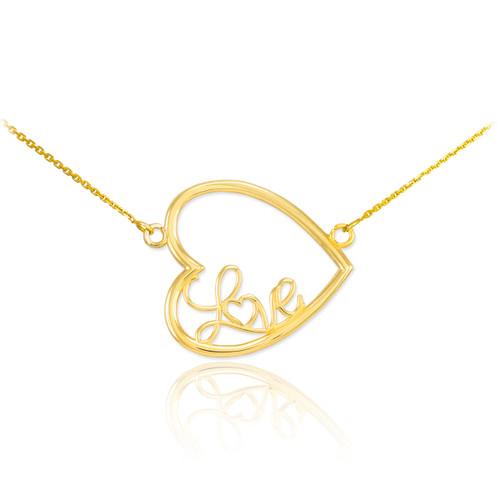 """14K Gold Sideways Open Heart """"Love"""" Script Necklace"""