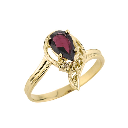 10k Gold Ladies Pear Shaped Garnet Gemstone Ring