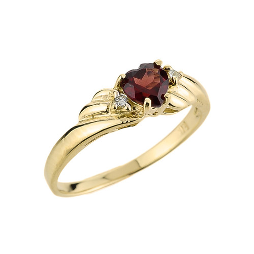10k Gold Ladies Garnet and Diamond Gemstone Ring
