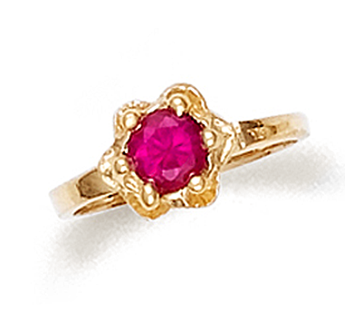 Baby girl ring with ruby red cz in 10k or 14k gold.
