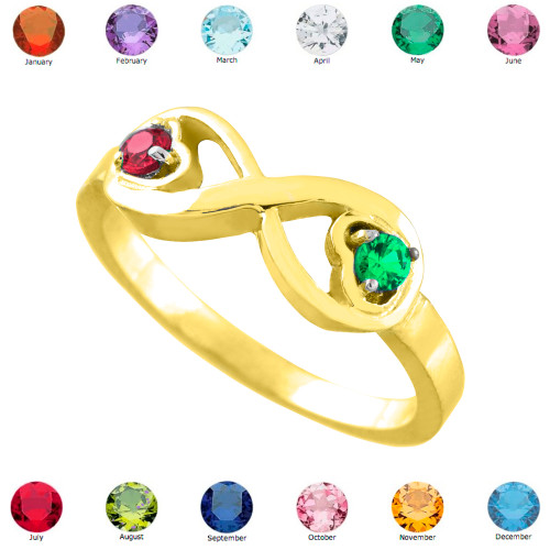 Gold Birthstone CZ Infinity Ring