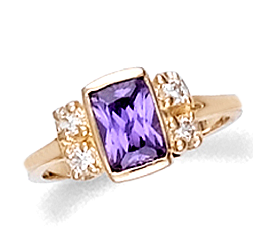Children's ring with lab created amethyst in yellow gold.