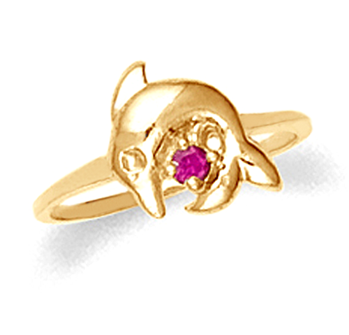 Children's dolphin ring with ruby red cz in 10k or 14k gold.