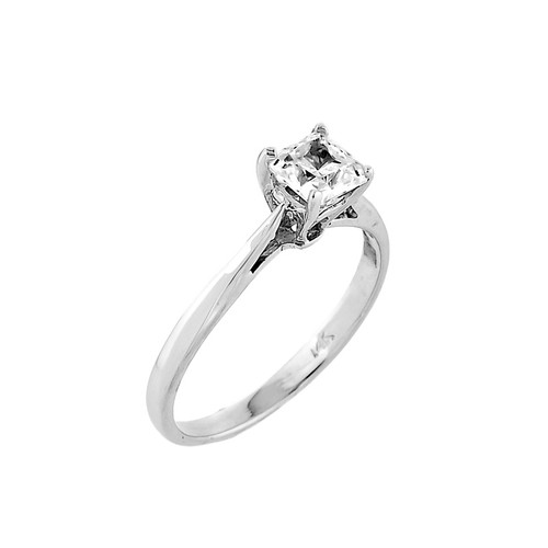 10K White Gold Princess Cut CZ Solitaire Engagement Ring