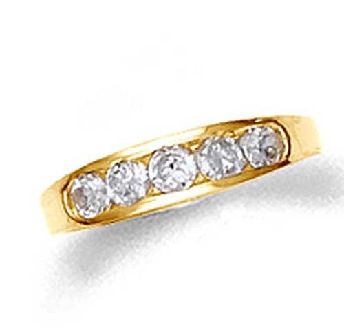 10k or 14k gold child's channel set cz ring.