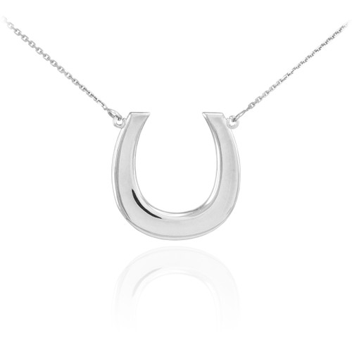 14K Polished White Gold Lucky Horseshoe Necklace