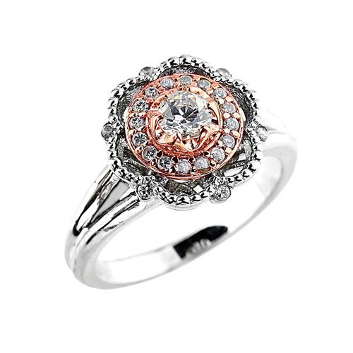 14k Two-tone Diamond Engagement Promise Ring