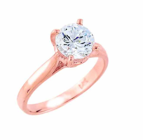 14k Rose Gold Round CZ Engagement Ring