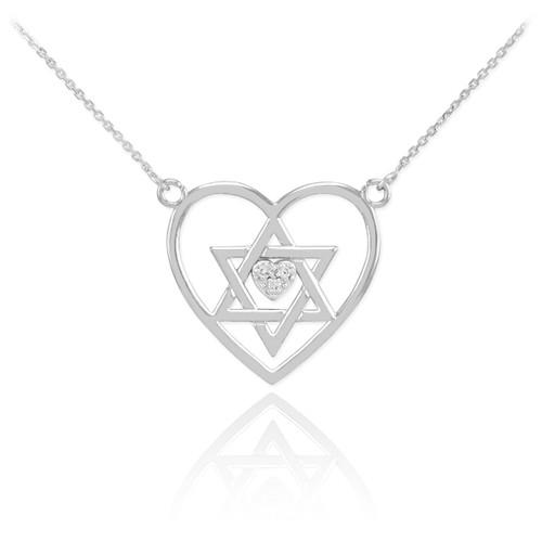 14K White Gold Open Heart Star of David Diamond Pave Heart Necklace