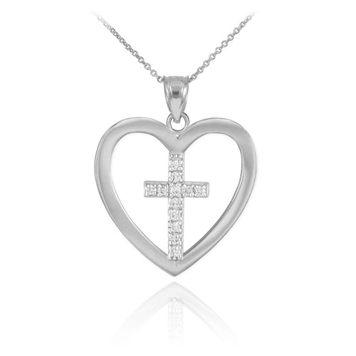Sterling Silver Open Heart CZ Cross Pendant Necklace