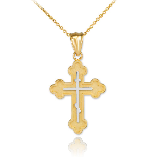 Two-Tone Yellow Gold Eastern Orthodox Cross Charm Pendant Necklace