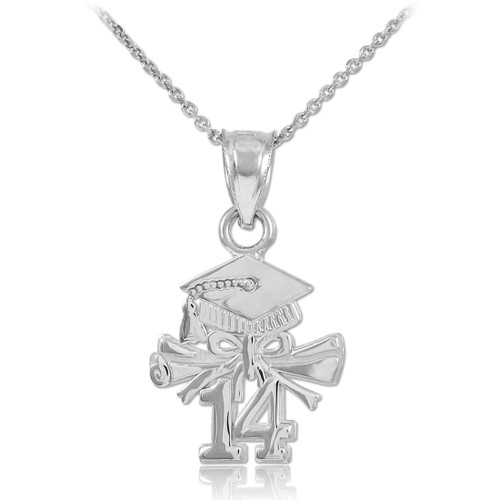Silver Diploma & Cap Charm 2014 Graduation Necklace