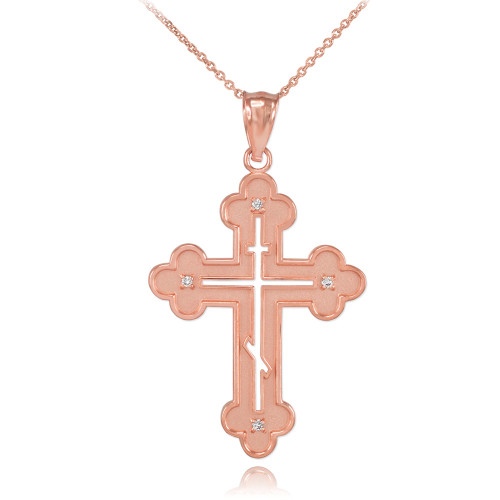 Rose Gold Eastern Orthodox Diamond Cross Pendant Necklace