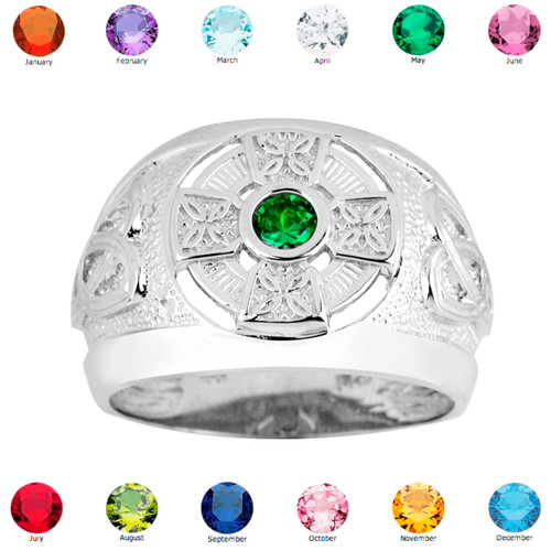 silver celtic birthstone ring