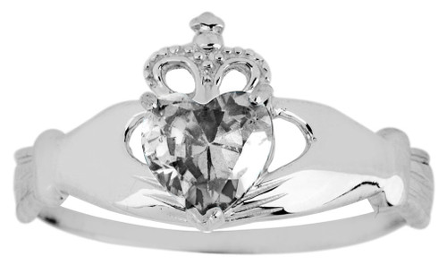 Silver Birthstone Claddagh Ring with Cubic Zirconia