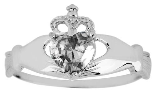 Silver Birthstone Claddagh Ring with Cubic Zirconia