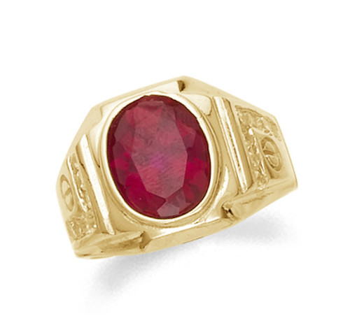 Synthetic ruby men's ring in 10k or 14k yellow gold.