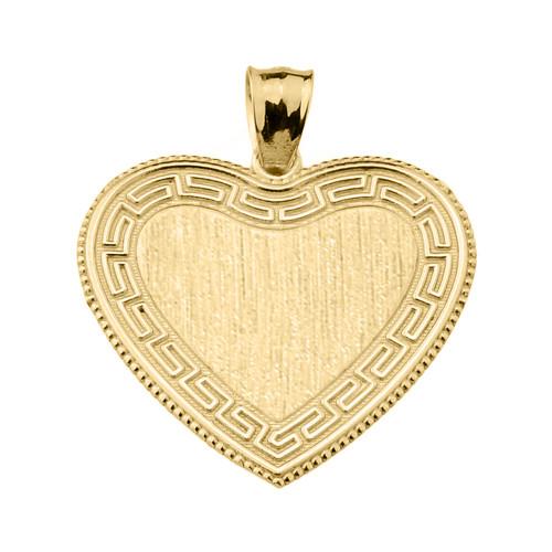 Greek Key Gold Engravable Heart Pendant