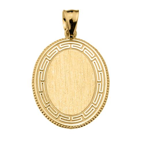 Greek Key Gold Engravable Oval Pendant