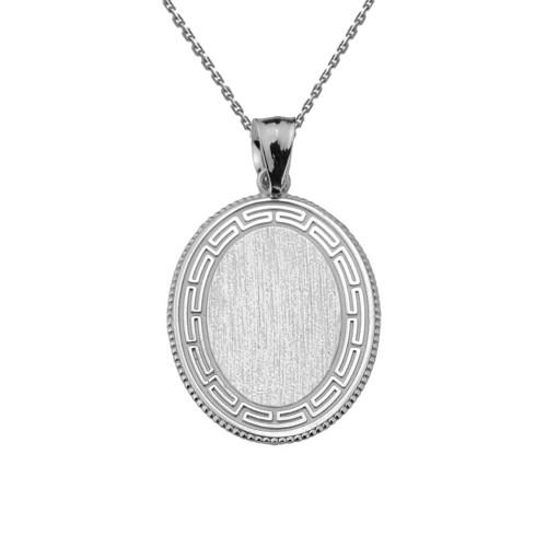 Greek Key Sterling Silver Engravable Oval Pendant