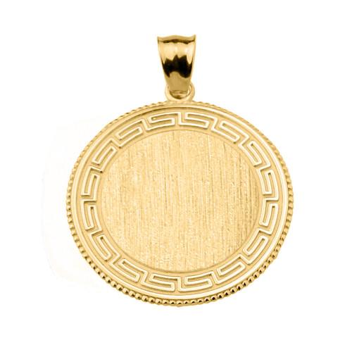 Greek Key Gold Engravable Round Pendant
