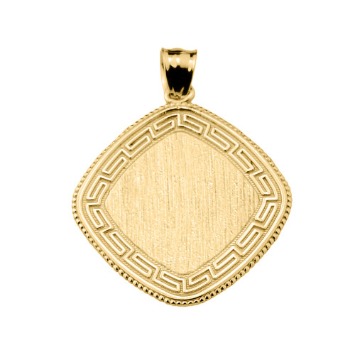 Greek Key Gold Engravable Charm Pendant