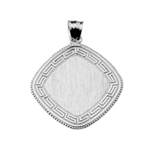 Greek Key Silver Engravable Charm Pendant