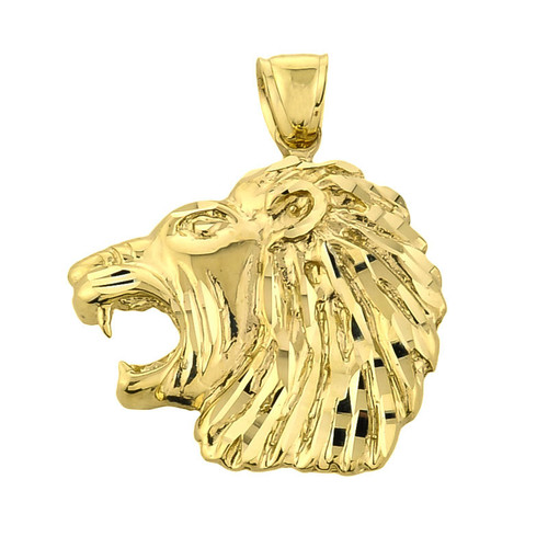 10k Gold Diamond Cut Lion Head Pendant